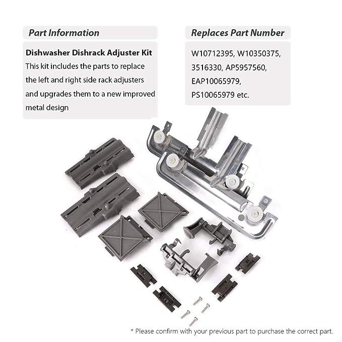 W10712395 W10350375 Kit de ajuste de estante para lavavajillas ...