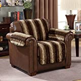 Wag and Wiggle Reversible Luxury Faux Fur Plush Furniture Cover Chair, Pumice Stone