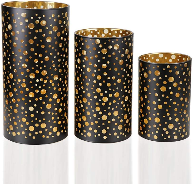 Glass Candle Holders Set of 3, Home Decor Votive Candles Holder 4,6,8 Inch Tall with Dots Pattern, Hurricane Lanterns for Table Decorativas Wax,LED Votive, Pillar Candles (Black)