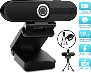 1080P Webcam with Microphone,HD Webcam with Privacy Cover and Tripod,Computer Camera with Microphone & Privacy Cover for Laptop Desktop, Web Camera for Video Streaming Conference Online Class