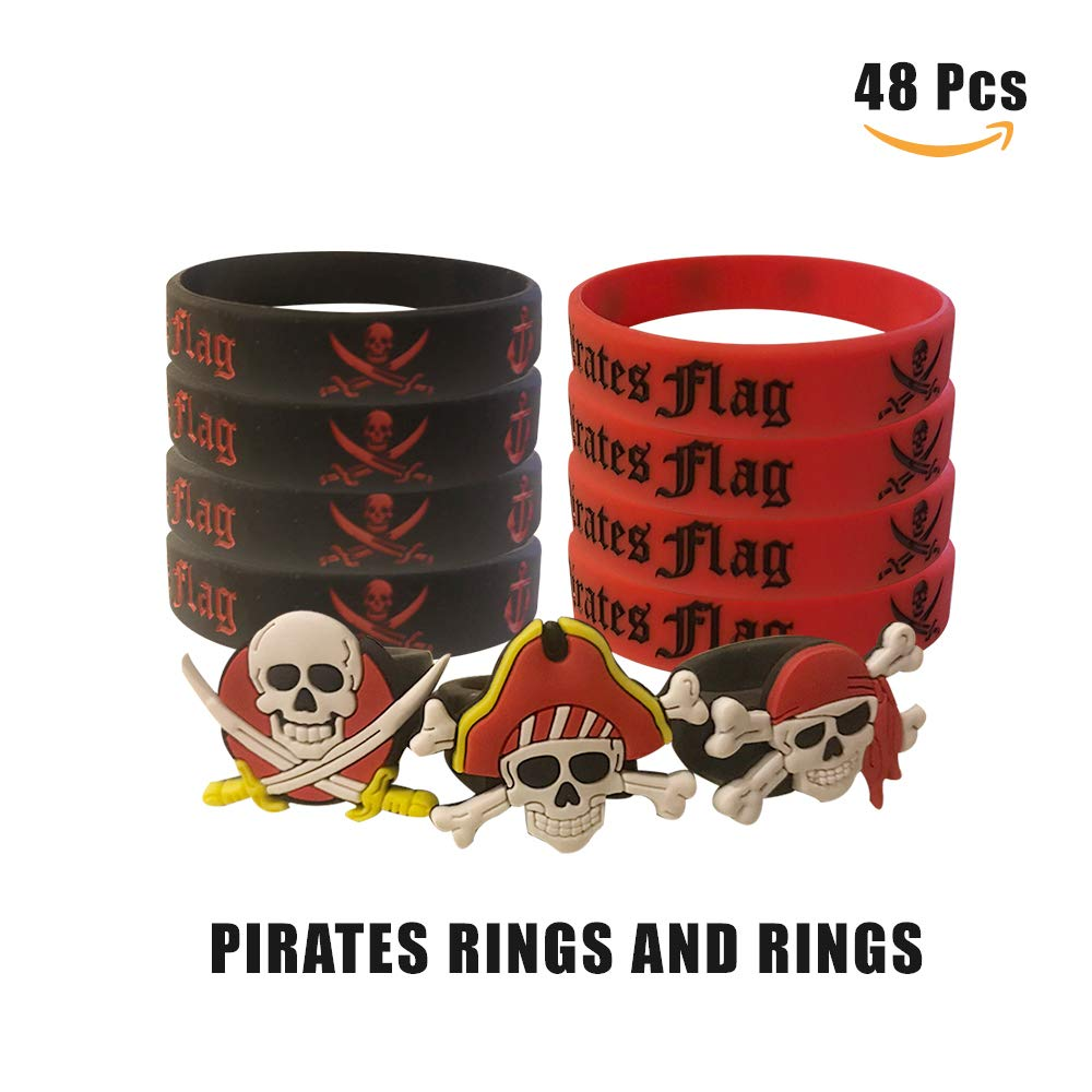 Cleverplay Pirate Party Favors Supplies 24 Pack Caribbean Pirates Silicone Wristbands Bracelets 24 Pack Pirate Toy Rings Great Kids Birthday Parties Pirate Events