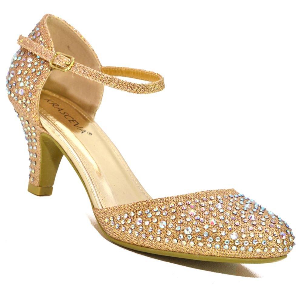 07e927c56ec2 Absolutely Gorgeous Boutique Womens Low Mid Heel Diamante Ankle Strap  Wedding Dance Prom Party Shoes UK Size  Amazon.co.uk  Shoes   Bags
