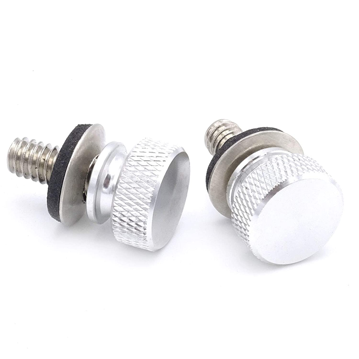DaSen Chrome 2x Billet Aluminum Hard Anodized 1//4 Seat Thumb Bolts Screw Fits 1996-2016 Harley Davidson Sportster Touring Road King Dyna Fatbob Street Glide Road Glide and other models
