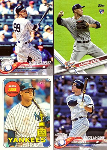 Aaron Judge 2018 Topps Lot of 4 Baseball Cards - Includes 2017 Topps Rookie Card
