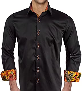 product image for Black with Metallic Leaves Designer Dress Shirts - Made in USA