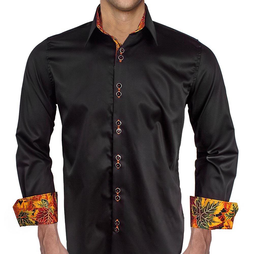 Anton Alexander Black With Metallic Leaves Designer Dress Shirts