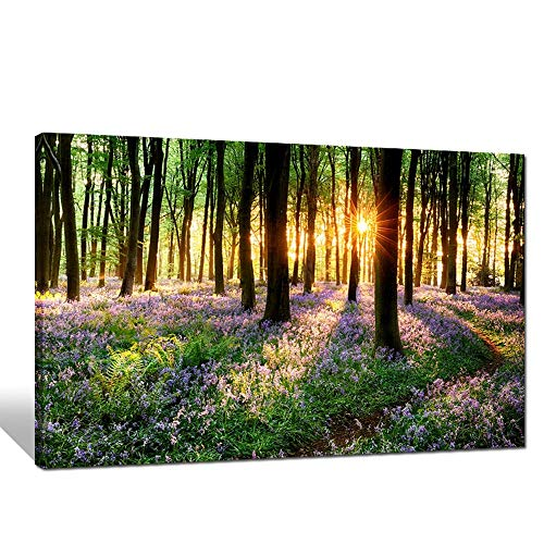 Lavender Canvas Wall Art with Wood Frame Forest in Sunshine Canvas Print Wall Decor Wall Canvas Landscapes Home Decoration Ready to Hang