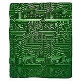 VROSELV Custom Blanket Digital Computer Art Backdrop with Circuit Board Diagram Hardware Wire Illustration Soft Fleece Throw Blanket Emerald Fern Green