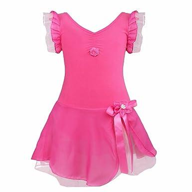FEESHOW Maillot Ballet con tutú para Niñas Traje de Danza Vestido de Fiesta Rosa Oscuro 5