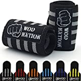 Wrist Wraps by WOD Nation - Wrist Support Straps (12', 18' or 24') - Fits Both Men & Women - Strength Training, Weightlifting, & Powerlifting - Lift Heavier Weight (18 Inch - Black/Grey)