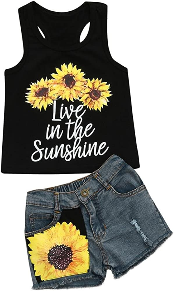 Cute Toddler Kid Baby Girl Sunflower Clothes Sleeveless Romper Long Pants Outfit
