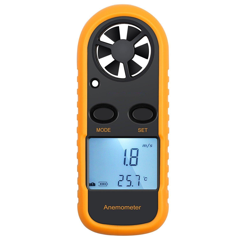 KanCai Anemómetro Termómetro Digital de Pantalla LCD Medidor de Velocidad Viento Aire con Luz de Fondo para Vela, Cometa, Surf, Marina, Pescar, etc