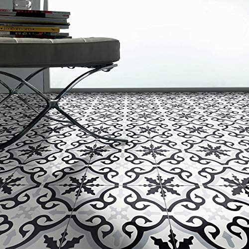 Moroccan Mosaic & Tile House CTP02-08 Argana Handmade Cement Tile in Black, Grey, White 141[並行輸入]