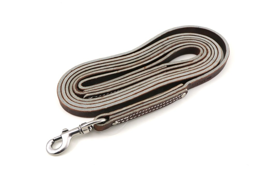 Leerburg 10' X 1/2'' wide Amish Brown Leather Leash