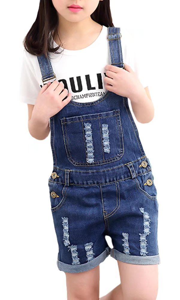 Kids Destroyed Ripped Holes Denim Jeans Cuff Shorts Bib Romper Overalls Jumpsuit Shortalls for Little & Big Girls, 1#Blue 11-12 Years=Tag 170