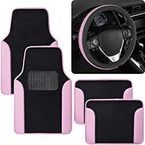 Vibrant Color Car Accessory Gift Set, Includes Two-Tone Glitter PU Leather Carpet Floor Mats & Diamond Bling Steering Wheel Cover, Holiday Combo Pack for Autos Truck Van SUV