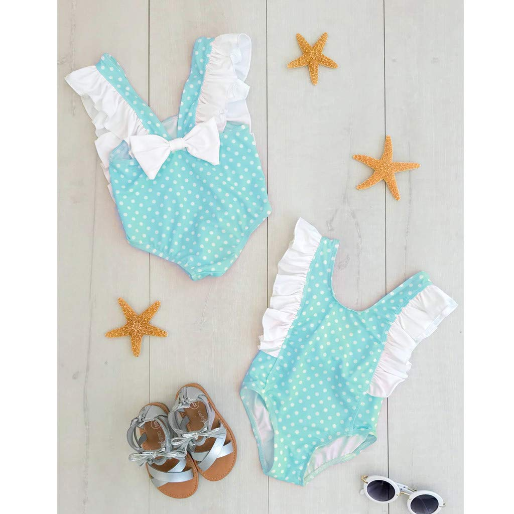 Dinlong Summer Toddler Kids Baby Girl Swimsuit Bow Polka-Dot Ruffle Bathing Suit One Piece Dot Swimwear