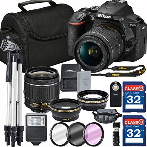 Nikon D5600 DX-format Digital SLR w/ AF-P DX NIKKOR 18-55mm f/3.5-5.6G VR + 64GB Memory Accessory Bundle – International Version by Grace Photo