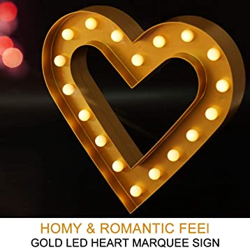 Amazon Com Bright Zeal 12 Inch Gold Heart Marquee Light Large Valentine Decorations For Home And Office Wedding Decorations Centerpieces For Table Romantic Gifts For Her And Him Wall