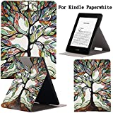 Newshine(TM) Case For Kindle Paperwhite,Ultra Slim PU Leather Smart Case Build in Magnetic with [Auto Sleep/Wake Function] for Amazon New Kindle Paperwhite 2015 2013 2012 6'' E-reader (Beautiful Tree)