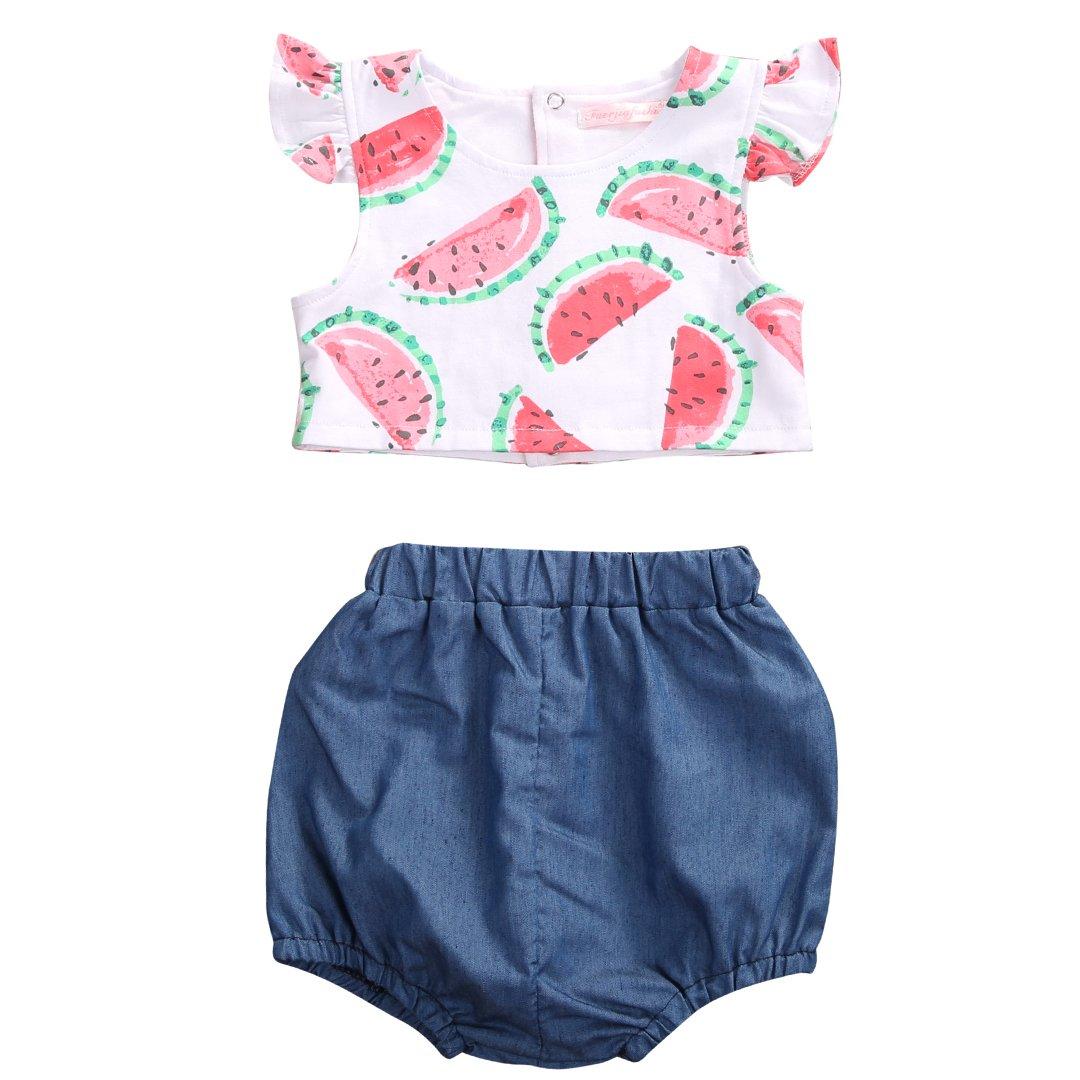 Baby Girls Clothes 2pcs Set Watermelon Print vest Top Puffy Short pants