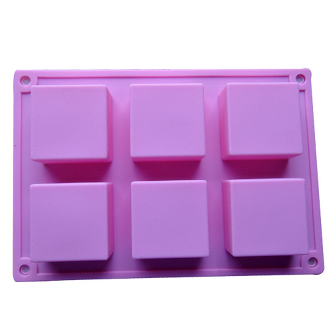 6 Cavity Square Handmade Soap Cake DIY Mold Silicone Mould for Homemade Craft Christmas Gift