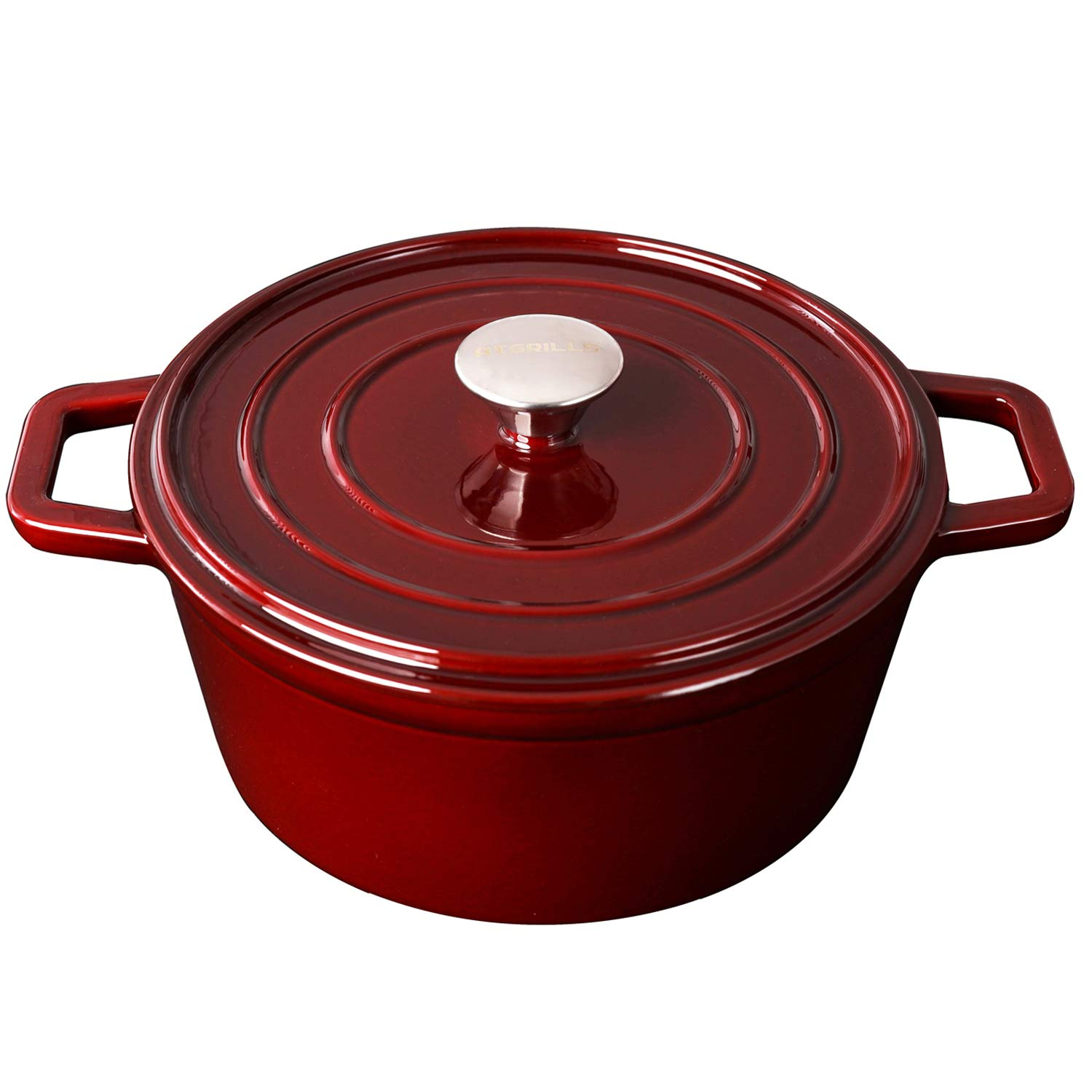 Enameled Cast Iron Dutch/French Oven, 4.5-Quart Round Dutch Oven with Self Basting Lid & Stainless Steel Knob, Electric Gas Stove Top Compatible Cookware, Claret (IR100-Claret, 4.5qt)