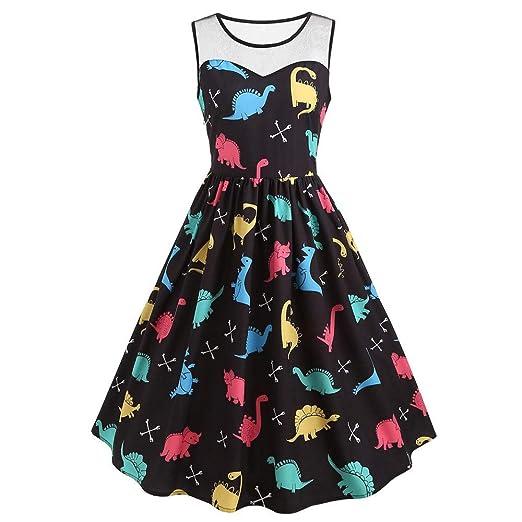 1b7a424cee7 Todaies Women Vintage Sleeveless Ladies Dress Printed Dinosaur Tunic Tank  Dress at Amazon Women's Clothing store: