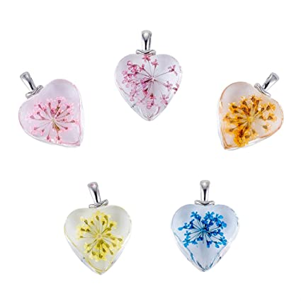 Amazon Com Beadthoven 5pcs Heart Glass Pendants With Dried Flower