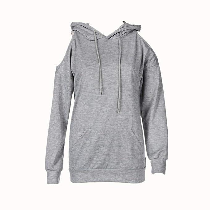 Kapuzenpullis Damen Grau Mode Elegant Lose Freizeit Warme Lange  Kapuzenpullover Kapuzen Frauen Schulterfrei Sweatshirt a35618de2e