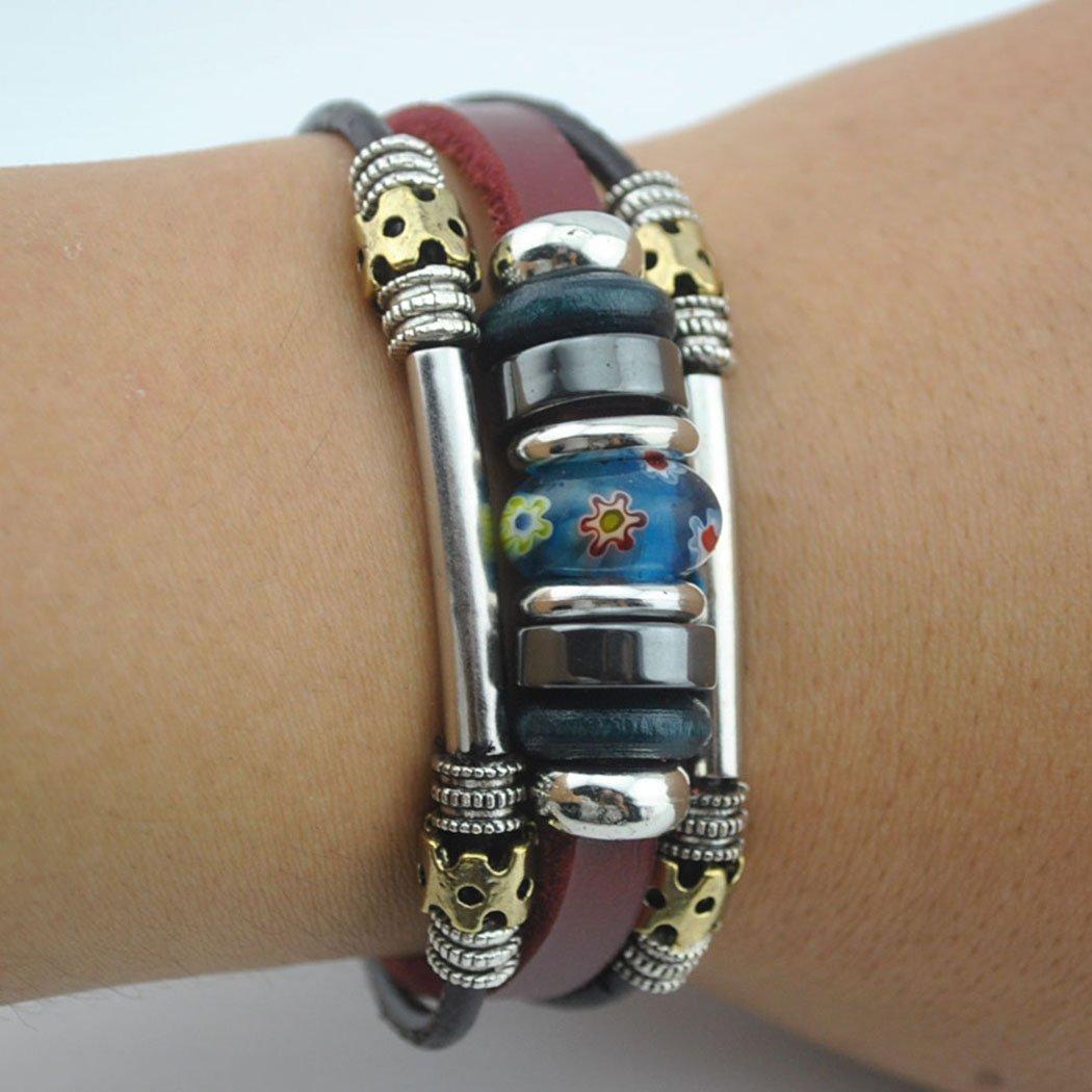 Real Spark Tribal Metal Beads Strand Flower Leather Wrap Bracelet Blue 1314282