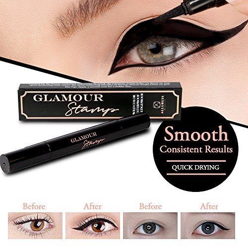 Liquid Eyeliner Cat Eyes - Alluress Beauty Liquid Eyeliner Pen with Wing Stamp (Black) Precision Cat Eye | Long-Lasting, Fast Drying, Water and Smudge Proof Makeup | Professional Cosmetic Felt