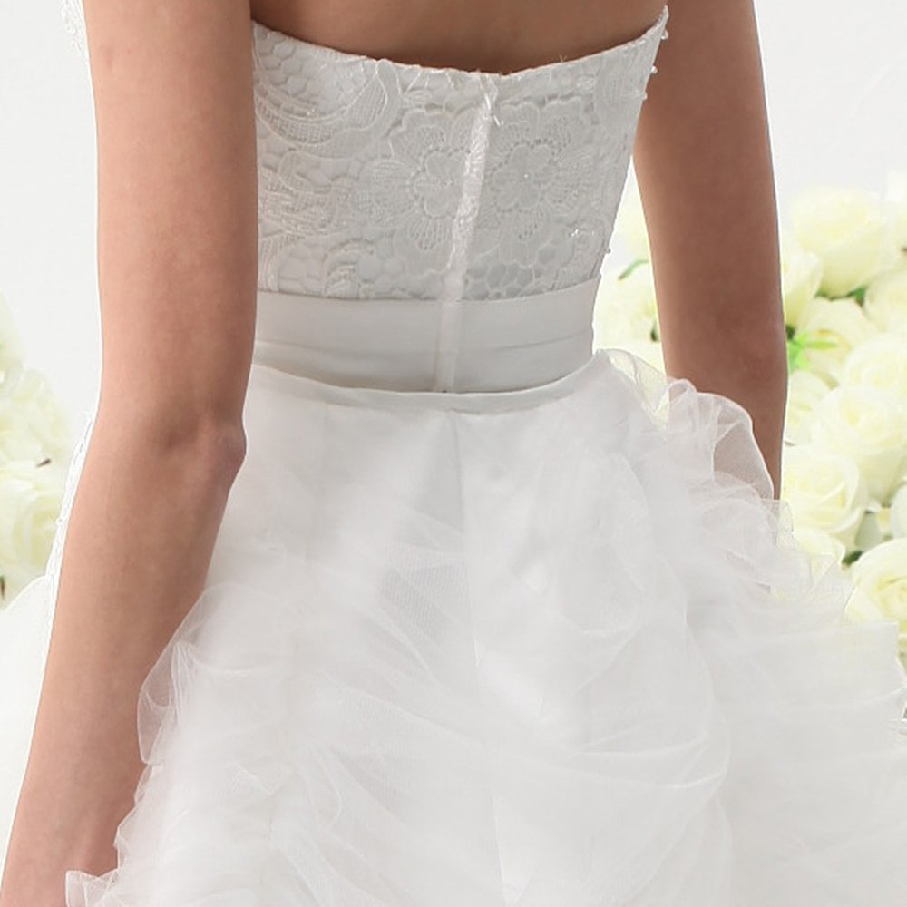 UnionFashionLi Knee Length White Cocktail Lace Wedding Dress with Removable Tail by UnionFashionLi (Image #4)