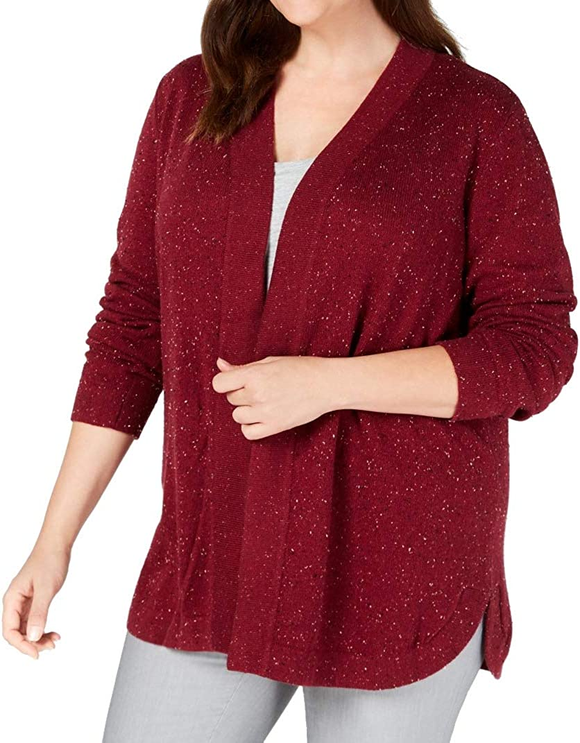 Karen Scott Plus Size Open-Front Cardigan in Merlot Combo