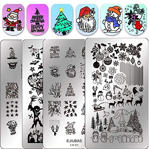 Ejiuabs Christmas Nail Stamping Kits Stamping Plates - Double Sided Stamping Templates Nail Art Salon Design Halloween Plates for free Christmas gift idea -