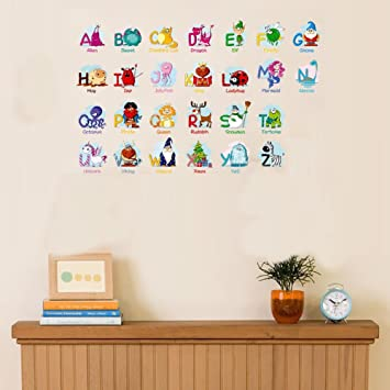 Bibitime Animal Alphabet Vinyl Letters Wall Decal For Kids Room Decor Nursery Bedroom Classroom Diy Education English Character Quotes Stickers