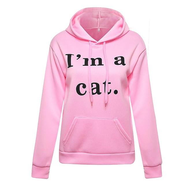 Amazon.com: Harajuku Kawaii Cat Ear Cap Hoodies Women I AM A CAT Printed Hooded Sweatshirts Pink Top Cute Long Sleeve: Clothing