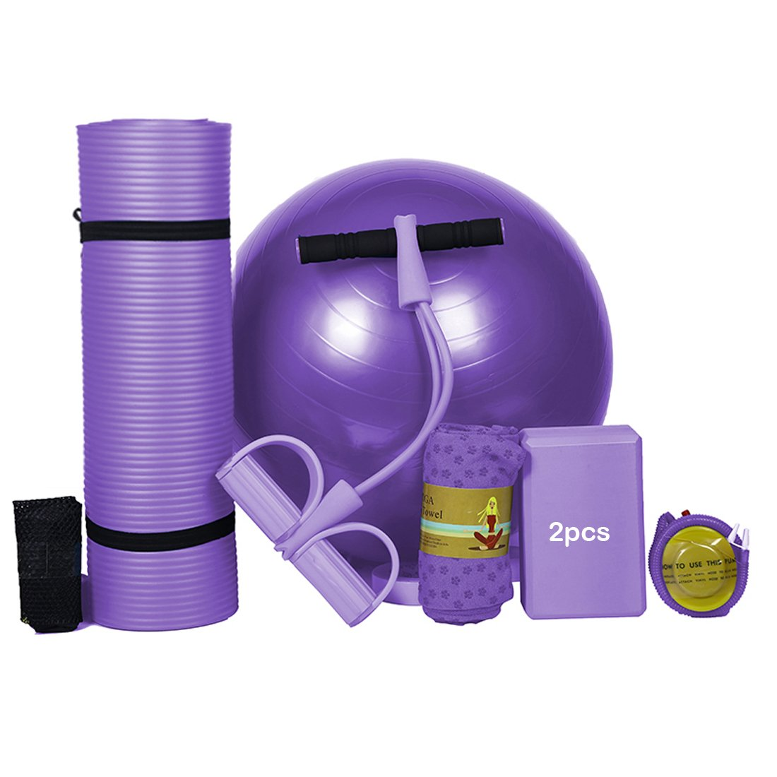 AWADUO Yoga 6-Pcs Set For Starter - Yoga Exercise Mat, Yoga Mat Towel, Yoga Fitness Ball, 2 Yoga Blocks, Yoga Pull Rope, Accessorized With Inflator