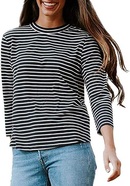 Camiseta Tops Blusas TAOtTAO Moda Mujer Casual Manga Larga Cuello ...