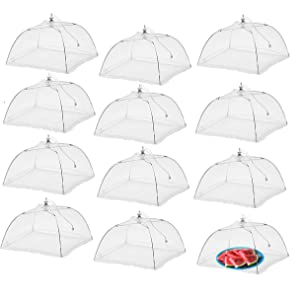 Simply Genius (12 pack) Large and Tall 17x17 Pop-Up Mesh Food Covers Tent Umbrella for Outdoors, Screen Tents Protectors For Bugs, Parties Picnics, BBQs, Reusable and Collapsible