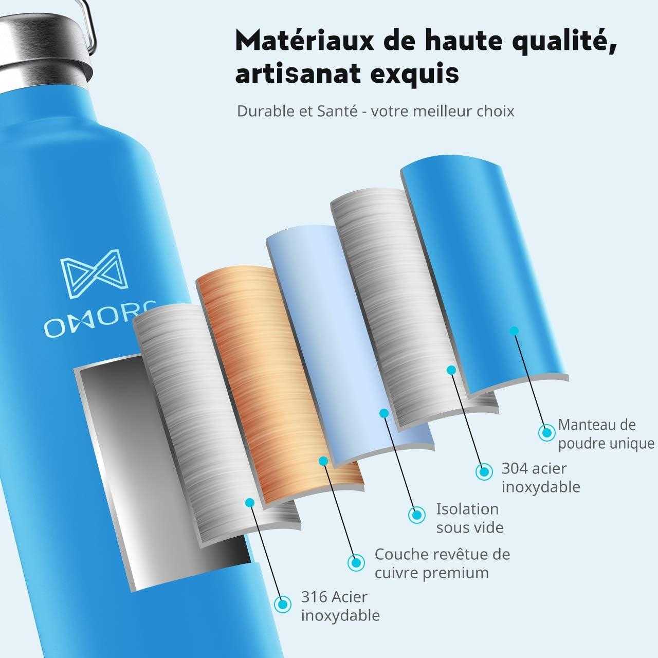 OMORC Bouteille deau Isol/ée par Vide dair en Acier Inoxydable 600ML Anti-Condensation,Bouteille Isotherme R/éutilisable sans BPA,Conserver Froid 28H et Chaud14H,2 Bouchons Interchangeables