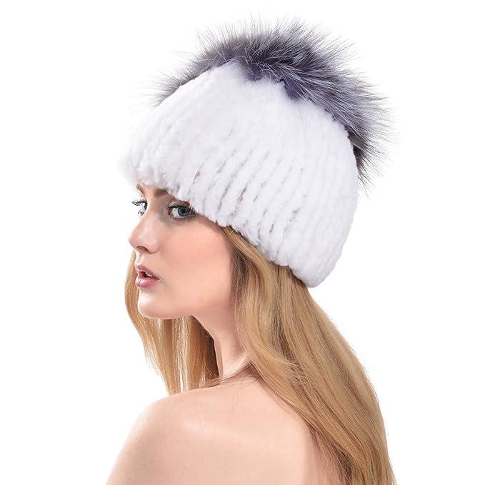 VEMOLLA Cappello Invernale per Donne in Pelliccia di Coniglio Rex con PON  PON in Pelliccia di a9bad154b21b