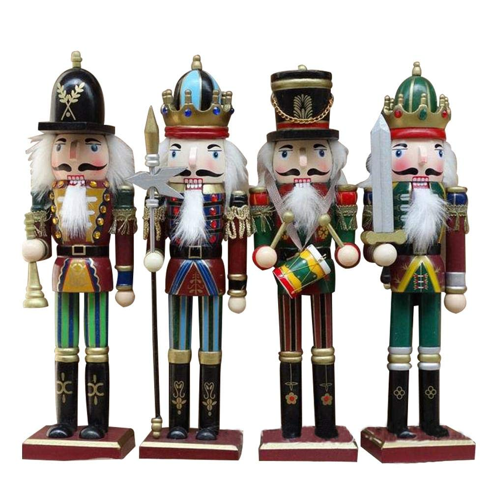 soldato schiaccianoci,Wooden Christmas Nutcracker Handmade Soldier Puppets Christmas Decorations Classic Hand Painting Doll for Office Home Desktop Decor, Gift for Kids Children Nutcracker kingpo