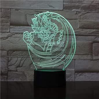 3D Luz Nocturna,Dragón Chino Fénix ,7 Colores Táctil Usb