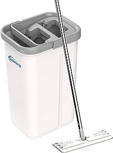 oshang Flat Floor Mop and Bucket Set for Floor Cleaning, Hands Free Squeeze Mop for Hardwood,Laminate Floor. Stainless-Steel Handle, 2 Washable & Reusable Microfiber Mop Heads