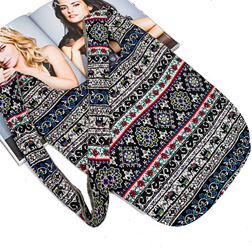 Hippie Crossbody Bag Thai Top Zip Hobo Sling Bag Handmade Hipster Messenger Bag (Blue Elephant (Zip Hobo)