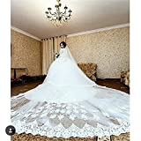 Newdeve 5M 2T Ivory White Lace Edge Cathedral Blusher Wedding Veils