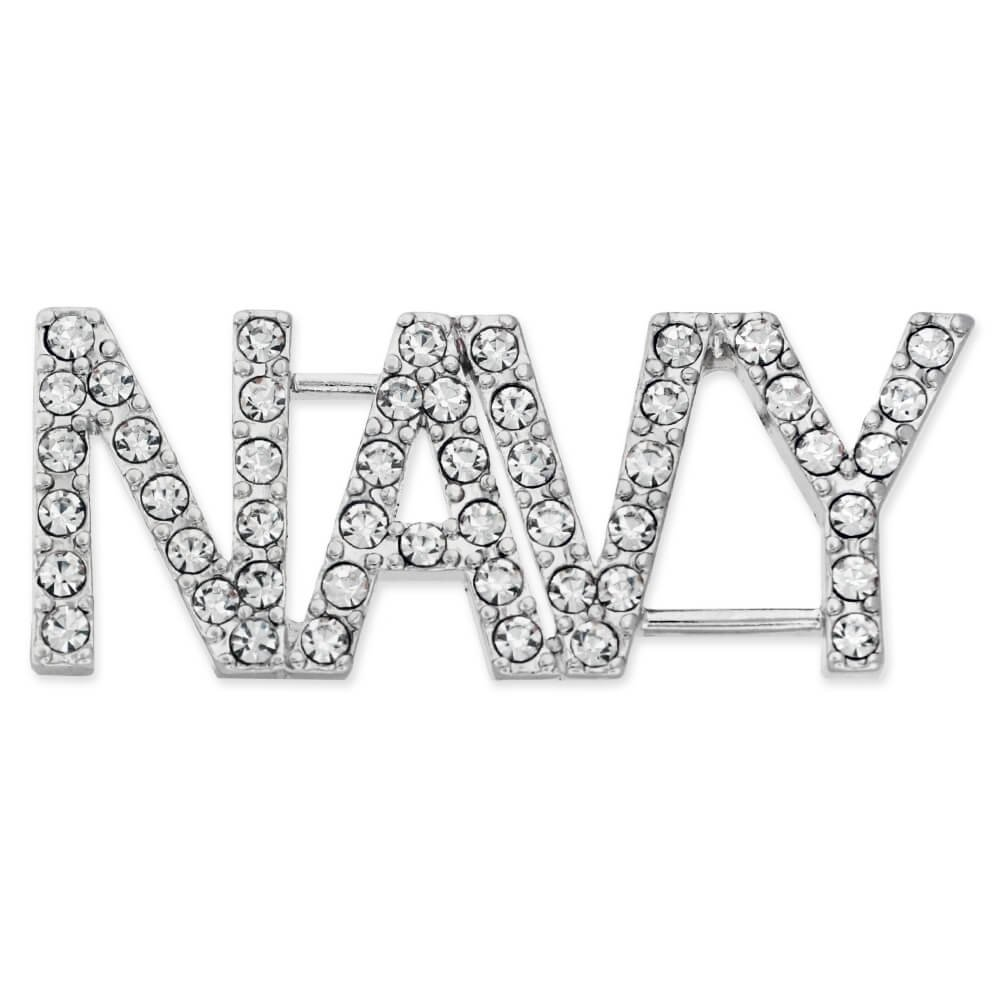 PinMart's Rhinestone USA Military NAVY Patriotic Jewelry Brooch Style Pin 1-3/4''