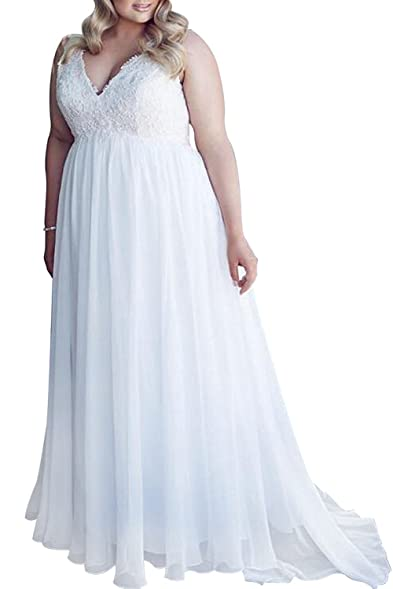 Vivibridal Women\'s V-Neck Lace Chiffon Wedding Dresses Plus Size ...