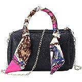 Dongtu Fashion Women Zipper Handbag Silk Scarf Leather Metal Chain Shoulder Bag Shoulder Bags
